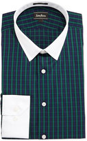 Neiman Marcus Classic-Fit Plaid Dress Shirt, Green/White