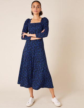 Under Armour Floral Square Neck Midi Dress Blue