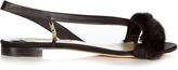 Olgana Paris La Croisette mink-trimmed satin flat sandals