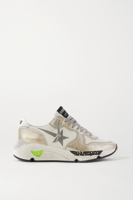 Golden Goose Running Sole Distressed Metallic Leather Sneakers - White