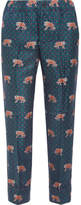 J.Crew Easy Printed Silk-twill Straight-leg Pants - Blue