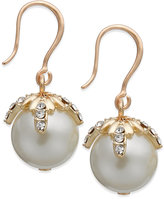 Charter Club Gold-Tone Pavé Imitation Pearl Drop Earrings, Only at Macy's