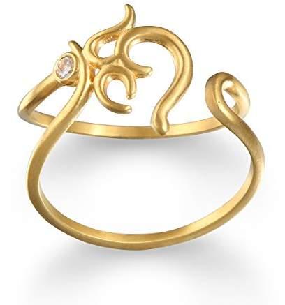 White Topaz Om Adjustable Ring
