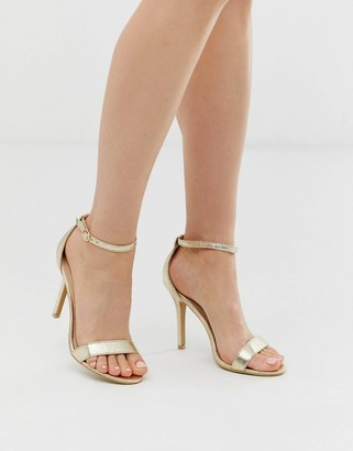 Glamorous barely there heeled sandals in gold