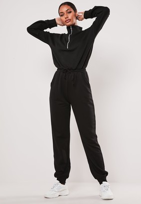 Missguided Black Drop Shoulder Zip Front Jumpsuit