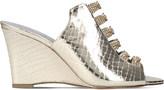 Gina Marlina metallic-leather Swarovski-embellished wedge sandals