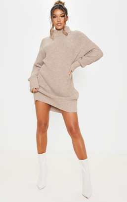 SWAGGER Camel Oversized High Neck Knitted Jumper Dress