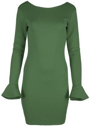 Fashion Star Womens Peplum Sleeve Bodycon Low Back Neck Slim Fit Stretchy Mini Dress Khaki