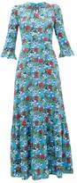 Mary Katrantzou Millias Floral-print Silk-blend Cloque Gown - Womens - Blue Multi