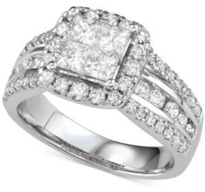 Macy's Diamond Princess Three Row Engagement Ring (2 ct. t.w.) in 14k White Gold