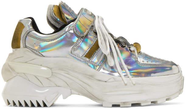 Maison Margiela Silver Iridescent Retro Fit Sneakers