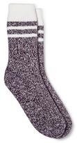 Merona Women's Crew Socks Burgundy Stripe Brushed for Warmth One Size