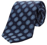 Saint Laurent Navy & Blue Large Flower Pattern Silk Tie.