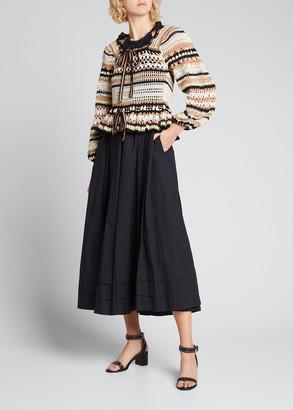 Ulla Johnson Constanza Open-Knit Peplum Sweater