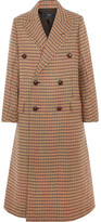Joseph Double-breasted Checked Felt Coat - Brown