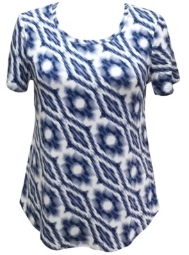 JM Collection Petite Printed Curved-Hem Top, Created for Macy's