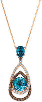 LeVian Le Vian® Chocolatier London Blue Topaz (5-1/2 ct. t.w.) and Diamond (1-1/10 ct. t.w.) Interlocking Teardrop Pendant Necklace in 14k Rose Gold, Only at Macy's