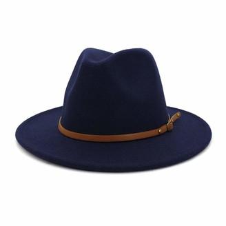 Gossifan Women Wide Brim Fedora Hats for Fashion Belts Unisex Felt Hat (C-White Medium)