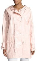 Moncler Lacquered Cotton Rain Coat, Blush