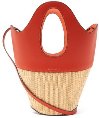 Danse Lente Leather And Wicker Small Tote Bag - Orange Multi
