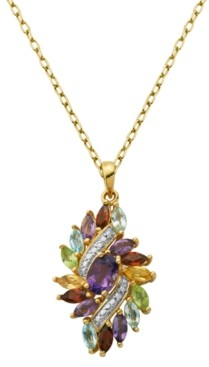 PRIME ART & JEWEL Multi-Gemstone (2-1/2 ct. t.w.) Pendant in 18k Gold Over Sterling Silver