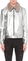 Alexander McQueen Metallic leather biker jacket