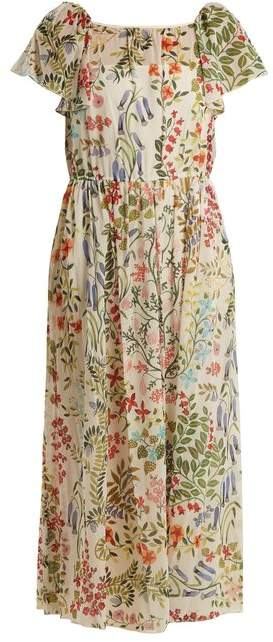 RED Valentino Floral Print Chiffon Dress - Womens - Cream Multi