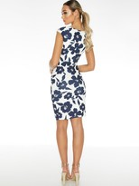 Quiz Scuba Crepe Floral Sleeveless Sweetheart Ruche Midi Dress - Navy Cream
