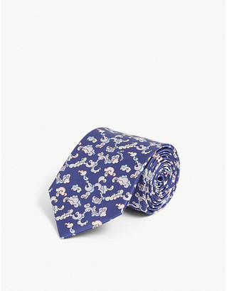 Lanvin Floral cloud-pattern silk tie