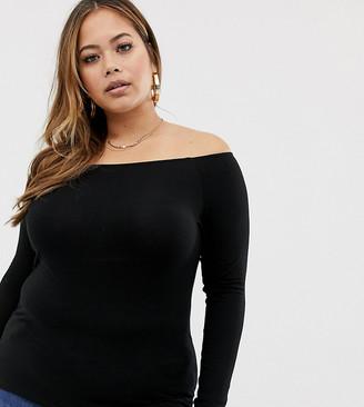 ASOS DESIGN Curve ultimate off shoulder long sleeve top in black