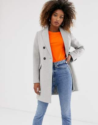 Stradivarius double-breasted tailored coat in gray