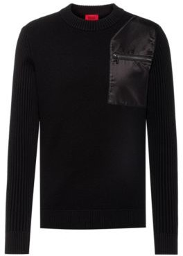 HUGO BOSS Cotton-blend sweater with contrast patch and pocket