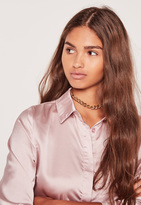 Missguided Chain Link Choker Necklace Gold