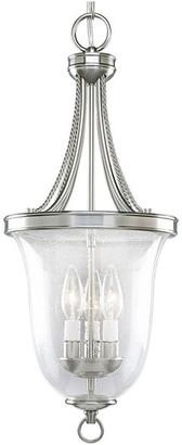 Progress Lighting 3-Light Foyer w/ Clear Seeded Glass Bowl, Brushed Ni