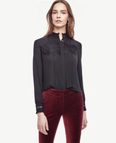 Ann Taylor Petite Lace Tipped Blouse