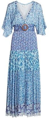 HEMANT AND NANDITA Paisley Kimono-Sleeve Belted Drop-Waist Pleated Dress