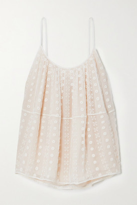 Chloé Broderie Anglaise Silk-crepon Camisole - White