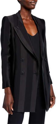 Emporio Armani Tonal Striped Double Breasted Long Jacket w/ Peak Lapels