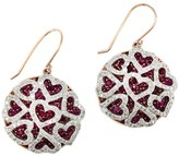 Effy Jewelry Effy 14K Two Tone Gold Ruby and Diamond Hearts Earrings, 7.08 TCW