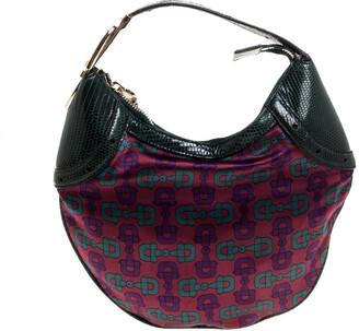 Gucci Multicolor Printed Satin and Lizard Crystal Embellished Buckle Hobo