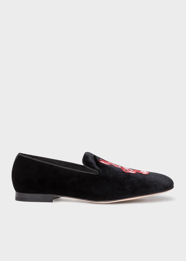 Paul Smith Men's Black Velvet 'Rabbit' Embroidered 'Dryden' Loafers