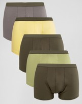 Asos Trunks With Khaki Waistband 5 Pack SAVE