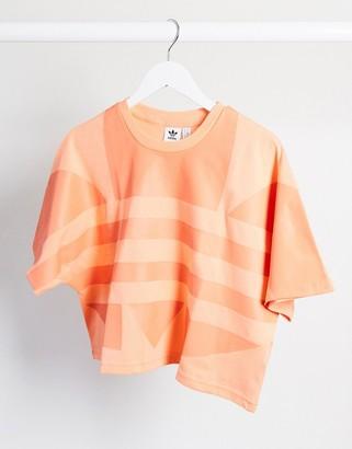 adidas adicolor cropped large logo t-shirt in orange
