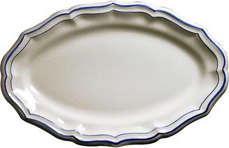 Gien Fliet Bleu Oval Serving Platter - White/Blue