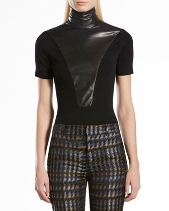 Gucci Wool & Leather High-Neck Top
