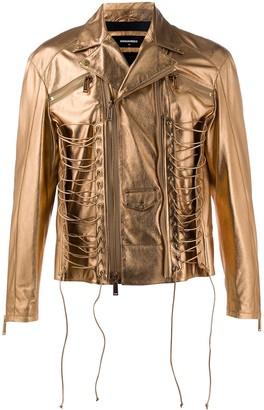 DSQUARED2 Lace-Detail Metallic Jacket