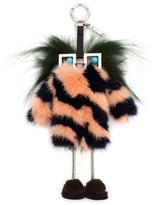 Fendi Women's Faces Hypnoteyes Genuine Fur Bag Charm With Slippers - Grey