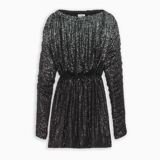 Saint Laurent Black sequined gathered mini dress
