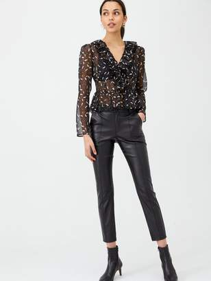 Very Feather Lurex Twist Front Blouse - Black
