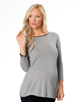 A Pea in the Pod 3/4 Sleeve Boat Neck Back Interest Maternity T Shirt